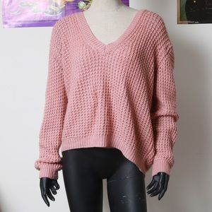 Over sized open back pink sweater